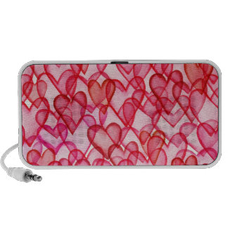 Multi Transparent Hearts in Red Pink PC Speakers