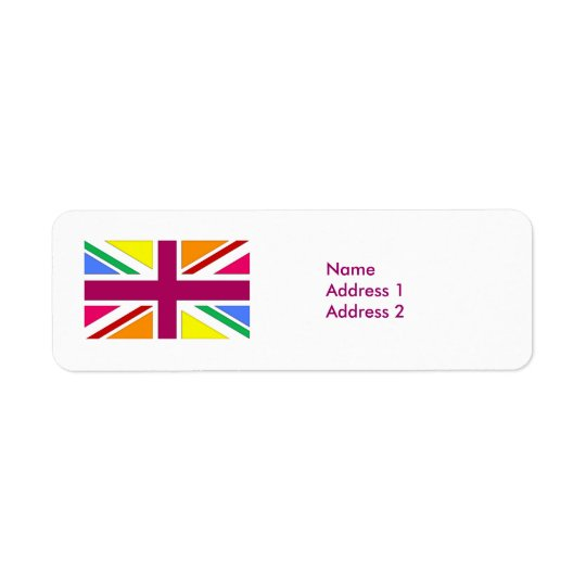 Multi Union Jack Patriotic UK Return Address Label