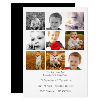 Multi Use Personalized Nine Photo Template Card