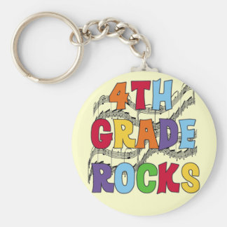 Multicolor 4th Grade Rocks Tshirts and Gifts Basic Round Button Key Ring