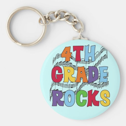 Multicolor 4th Grade Rocks Tshirts and Gifts Keychain