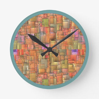 Multicolor Abstract Background. Colourful Pattern Round Clock
