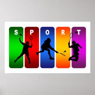 Multicolor Badminton Emblem Poster