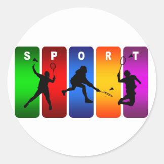 Multicolor Badminton Emblem Round Sticker