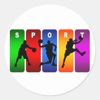 Multicolor Basketball Emblem Round Sticker