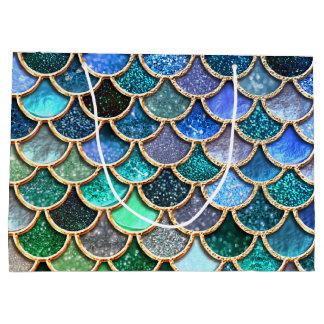 Multicolor Blue Sparkle Glitter Mermaid Scales Large Gift Bag