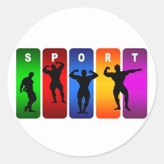 Multicolor Bodybuilding Emblem Round Sticker
