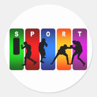 Multicolor Boxing Emblem Round Sticker