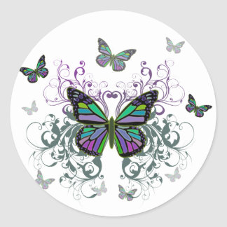 MultiColor Butterfly Classic Round Sticker