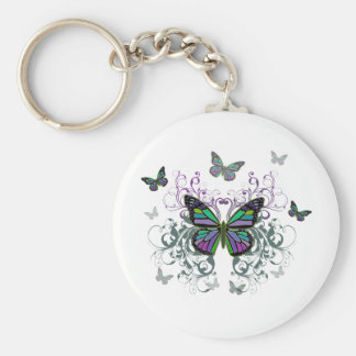 MultiColor Butterfly Basic Round Button Key Ring