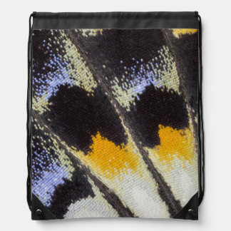 Multicolor butterfly wing pattern drawstring bag