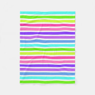 Multicolor Candy Striped Fleece Blanket