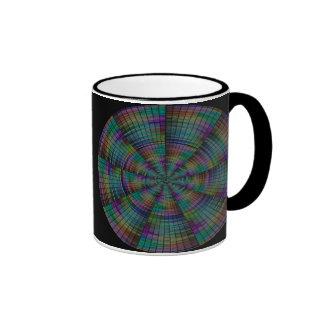 Multicolor circular wheel pattern coffee mug