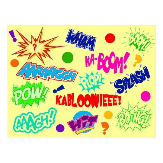 Multicolor Comic Call-outs Postcard