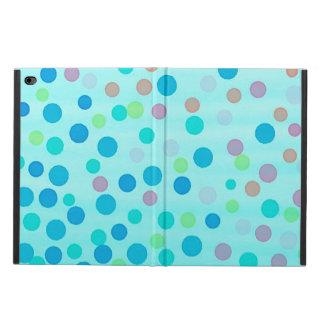 Multicolor confetti dots on turquoise blue
