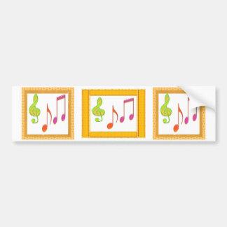 Multicolor Dancing Music Symbols Bumper Sticker