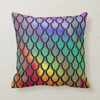 Multicolor Dragon Scale Watercolor Wash Pillow Cushions