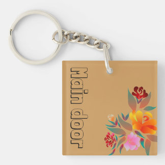 Multicolor, floral pattern, monogram Double-Sided square acrylic key ring