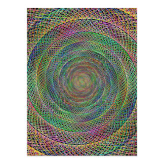 Multicolor fractal 17 cm x 22 cm invitation card
