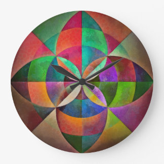 Multicolor Geometric Mandala Print Design Large Clock