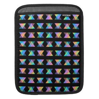 Multicolor Geometric Pattern on Black. iPad Sleeve
