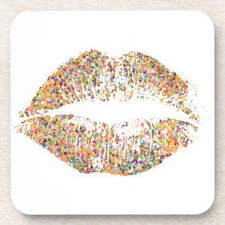 Multicolor Glitter Lips #15 Coaster