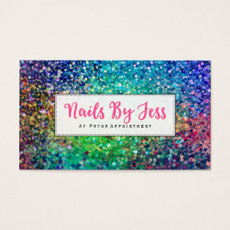 Multicolor Glitter Texture Print Nails Business Card