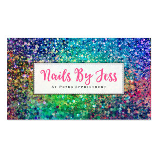 Multicolor Glitter Texture Print Nails Pack Of Standard Business Cards