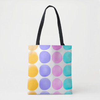 Multicolor hand painted watercolor dots tote bag