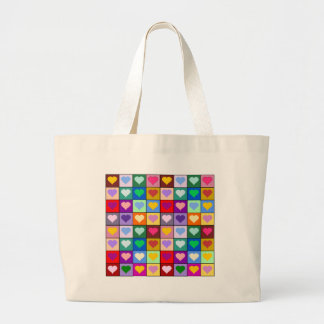 Multicolor Heart Squares Canvas Bags