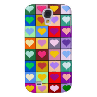 Multicolor Heart Squares Galaxy S4 Case