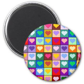 Multicolor Heart Squares Fridge Magnet