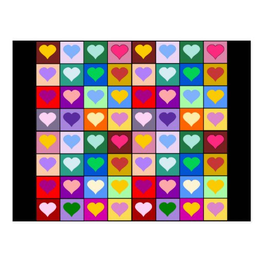 Multicolor Heart Squares Post Cards