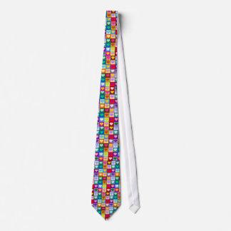 Multicolor Heart Squares Tie