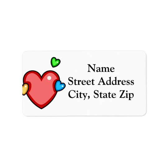 Multicolor Hearts Address Label