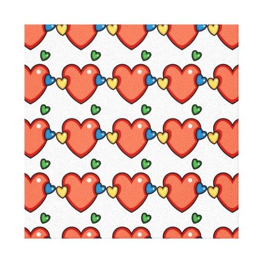 Multicolor Hearts Canvas Print