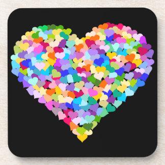 Multicolor Hearts Confetti Coaster