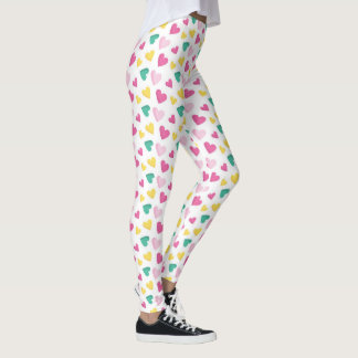 Multicolor Hearts Pattern Leggings