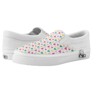 Multicolor Hearts Pattern Slip-On Shoes
