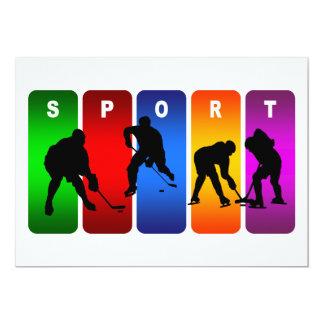 Multicolor Hockey Emblem 13 Cm X 18 Cm Invitation Card