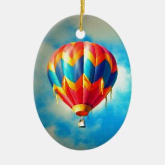 Multicolor Hot Air Balloon Ceramic Oval Decoration