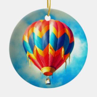 Multicolor Hot Air Balloon Round Ceramic Decoration