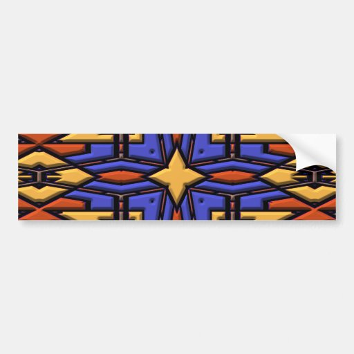 Multicolor Kaleidoscope. Quilted Digital Design Bumper Stickers