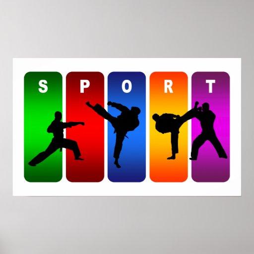 Multicolor Karate Emblem Print