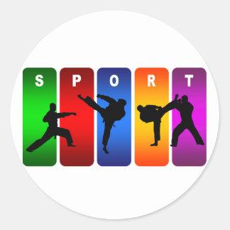 Multicolor Karate Emblem Round Sticker