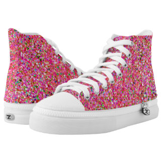 Multicolor Mosaic Modern Grit Glitter #4 High Tops