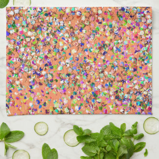 Multicolor Mosaic Modern Grit Glitter #5 Tea Towel