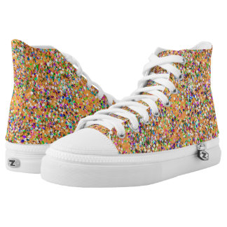 Multicolor Mosaic Modern Grit Glitter #9 High Tops