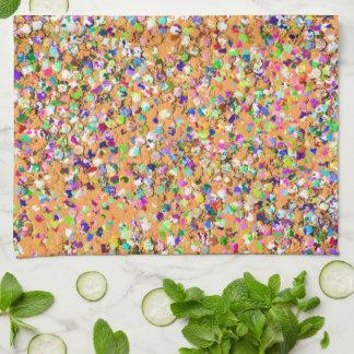 Multicolor Mosaic Modern Grit Glitter #9 Tea Towel