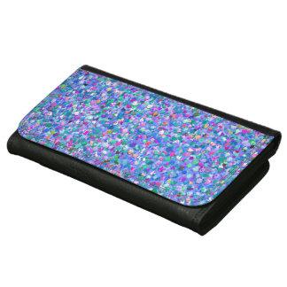 Multicolor Mosaic Modern Grit Glitter Leather Wallet For Women